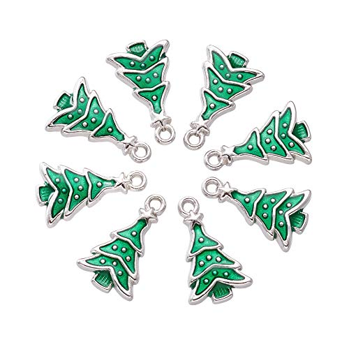 Craftdady Christmas Xmas Enamel Pendant Charm for Necklace Bracelet Jewelry Making Clothes Sewing Bags Decoration Charm DIY Scrapbooking Supply (Christmas Tree 2, 10pc)