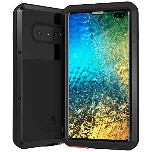 (LOVE MEI Samsung Galaxy S10 Plus Case with Glass Screen Protector Heavy Duty Metal Frame Silicone Rubber Cover Full Body Shockproof Scratch Resistant Bumper for S10 Plus/S10+ 6.4 Inches (Black) )