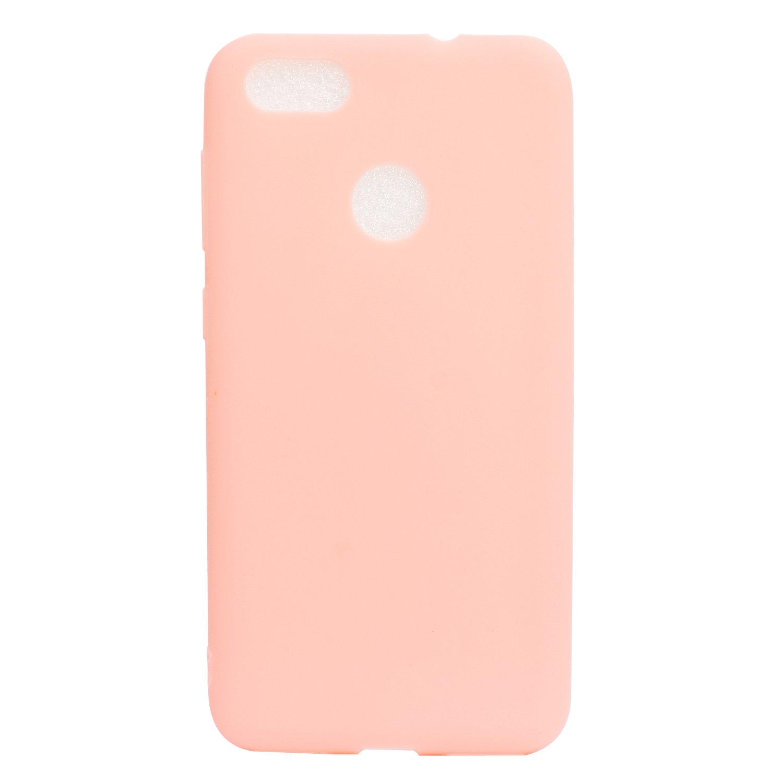 IJIA Custodia per Huawei Y6 PRO 2017 Huawei P9 Lite Mini Huawei P9 Lite Mini Puro Rosa TPU Silicone Morbido Protettivo Coperchio Protettiva Case Cover per Huawei Y6 PRO 2017 5.0