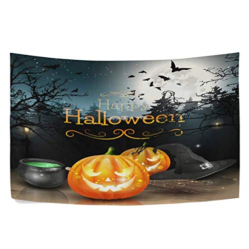 Sandayun88x Spooky Forest Pumpkin Tapestry Bats Moon Halloween Tapestry Wall Hanging Hippie Bohemian Tapestries for Bedroom Living Room Home Dorm Decor Wall Art 80 X 60 Inch -