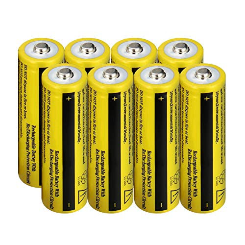 WolfonFire 8PCS 18650 Li-ion 3.7V 9800amh Rechargeable Batteries Button Top for Led Flashlight Torch, Small Fan, Radio, Toys
