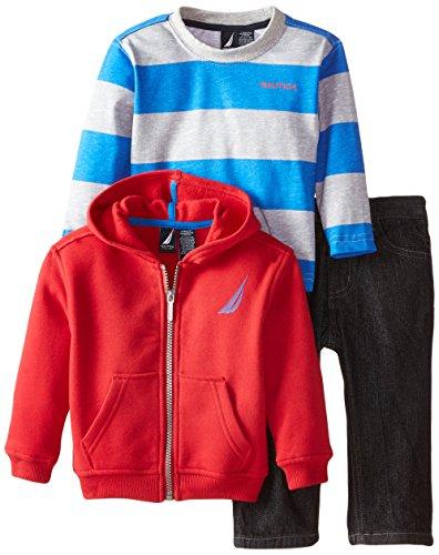 Nautica Baby Boys' 3 Piece Set Fleece Long Sleeve Tee Denim Pant, Red Rouge, 12 Months