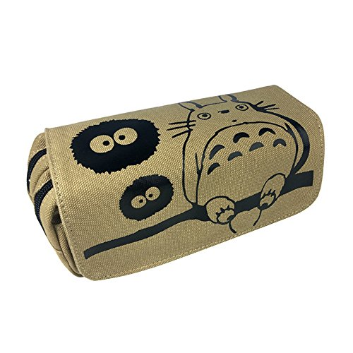 ASLNSONG My Neighbor Totoro Pencil Case Canvas Double Zipper Pen Box Makeup Pouch (Totoro C)
