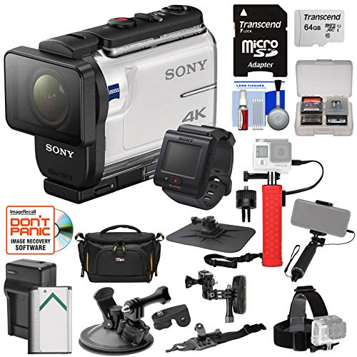 Sony Action Cam FDR-X3000R Wi-Fi GPS 4K HD Video Camera Camcorder & Remote + Action Mounts + 64GB Card + Battery/Charger + Case + Power Grip + Selfie Stick (Best Action Camcorders)