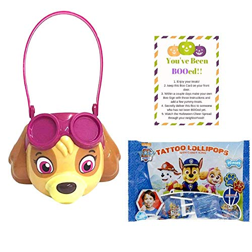 Paw Patrol Medium Plastic Bucket for Halloween Trick or Treat Accessory for Candy Costume Also Includes 1 Bag Paw Patrol Tongue Tattoo Lollipops & Boo Card (Pink Plastic Skye Bucket) -