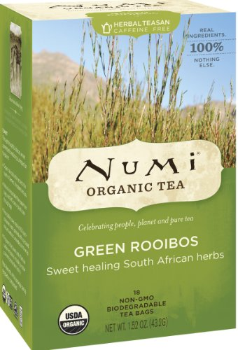Numi Organic Tea Green Rooibos, (Pack of 3 Boxes) 18 Bags Per Box, Green Rooibos Tea in Non-GMO Biodegradable Tea Bags, Caffeine Free Herbal Teasan, Premium Organic Non-Caffeinated Rooibos (3 Flowers Healing)