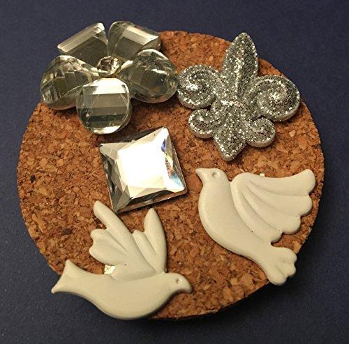 Resin Fleur De Lis Tack, Metal Dove Tacks,Rhinestone Flower Tack, Memo Board, Bulletin/Cork Board, Hostess Gifts, Flowers, Dorm Decor