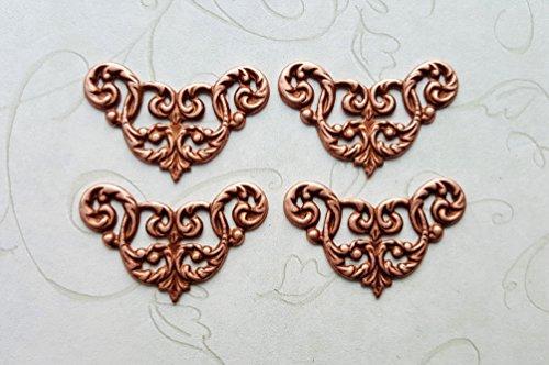 Rose Gold Ox Filigree Corner Stamping (4) - RGRAT682 - Filigree Stamping
