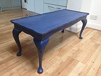 Vintage Teas Upcycled Hand Painted Distressed Navy Blue Coffee Table