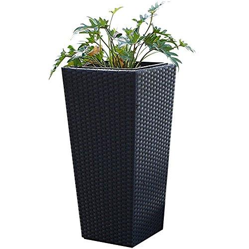 Tall Wicker Planter (Black) - 26