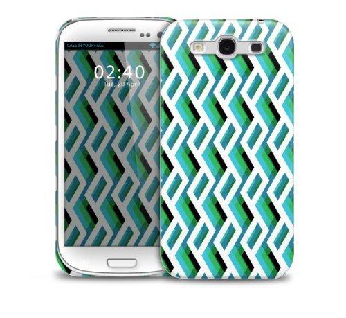 TelŽfono protectora cubierta de la caja de pl‡stico verde Blanco Negro Resumen Zigzag Samsung Galaxy S3 GS3