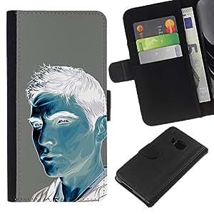 EJOY---La carpeta del tirón la caja de cuero de alta calidad de la PU Caso protector / HTC One M7 / --Hombre Azul Blanco Gris Pintura Retrato