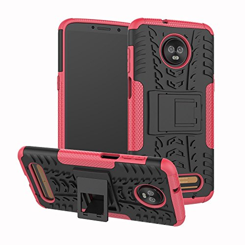 ZER Shockproof Hybrid Slim Dual Layer Rugged Rubber Hybrid Hard/Soft Impact Armor Defender Full Body Protective Case With Kickstand for Motorola Moto Z3 Play 2018 Model ()
