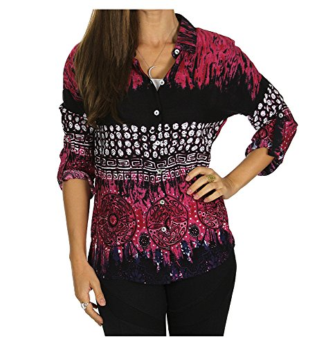 Sublime Women's Roll-Up Long-Sleeve Boho Print Shirt Button Front Cotton Blouse (Fuchsia, Medium) One Button Print Blouse