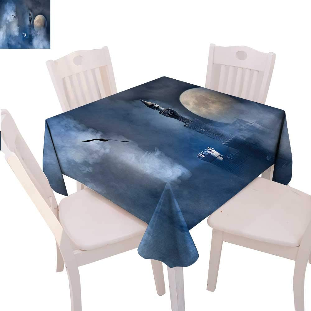color04 70\ color04 70\ cobeDecor Fantasy Stain Resistant Wrinkle Tablecloth Castle on Clouds at Moon Night Scary Gothic Fiction Medieval Mythology Evil Graphic Square Wrinkle Resistant Tablecloth 70 x70  Dark bluee