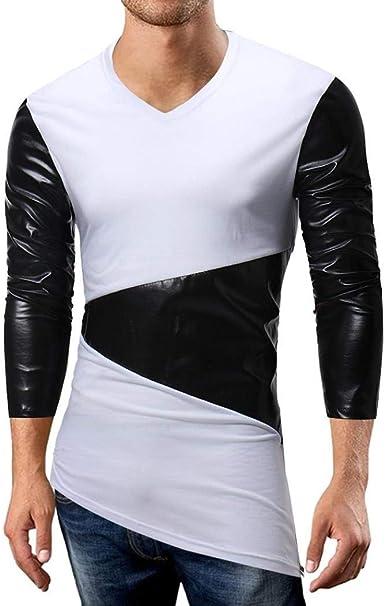 Camisa De Manga Larga con Cuello En V Y Longra De Manga Larga Hombres Especial Estilo Camisa