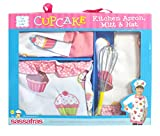 Sassafras 'The Little Cook' Ruffled Cupcake Apron Set with BONUS Whisk - Our Children's Apron Set Includes an Apron, Kids Oven Mitt, Adjustable Child's Chef's Hat and Bonus Whisk