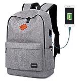 School Backpack, Lightweight Student Laptop Bookbag for Teen Boys Girls-Grey