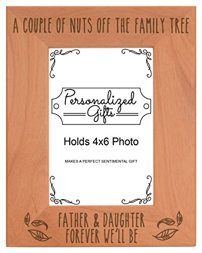 ThisWear Dad Daughter Picture Frame Father & Daughter Forever We'll Be Dad Birth Announcement Gifts Natural Wood Engraved 4x6 Portrait Picture Frame Wood