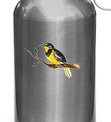 Yadda-Yadda Design Co. Bird - Western Meadowlark on Branch - Stained Glass Style Opaque Vinyl Decal for Water Bottle - Copyright 2015 (SM 3.75