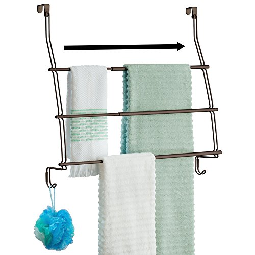 - mDesign Expandable Over Door Towel Rack with Three Tiers and Hooks for Bathroom, Shower - Bronze
