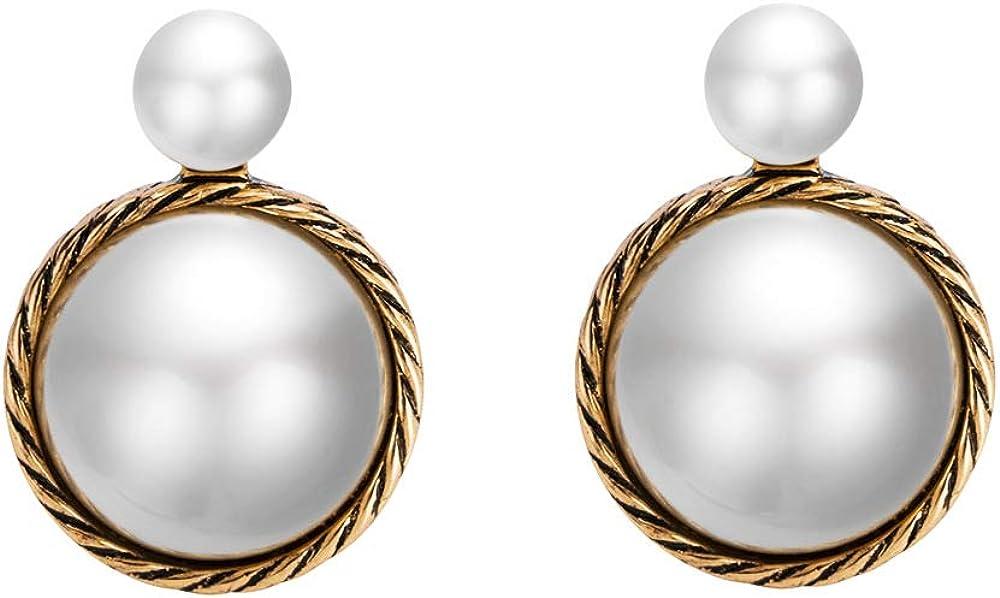 MDGWM Estilo Retro Barroco Europeo y Americano, exquisitos Pendientes con Incrustaciones de Perlas, diseño Alta Gama en Oro