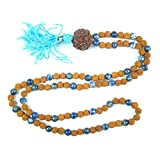 Meditation Hindu Prayer Mala Sodalite Rudraksha Beads for Japa Yoga Necklace