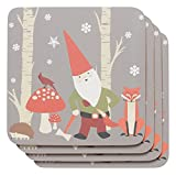 Now Designs Cork Backed Coaster, Set of Four, Gnomes