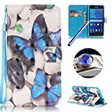 Galaxy Grand Prime G530 Leather Case,Samsung Galaxy Grand Prime G530 Wallet Case,Etsue Elegant Blue Butterfly Pattern Pu Leather Strap Wallet Flip Case Cover with Stand and Card Slots for Samsung Galaxy Grand Prime G530+Blue Stylus Pen+Bling Glitter Diamond Dust Plug(Colors Random)-Blue Butterfly