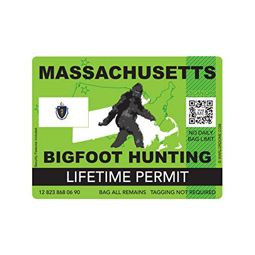 fagraphix Massachusetts Bigfoot Hunting Permit Sticker Die Cut Decal Sasquatch Lifetime FA Vinyl - 4.00 Wide
