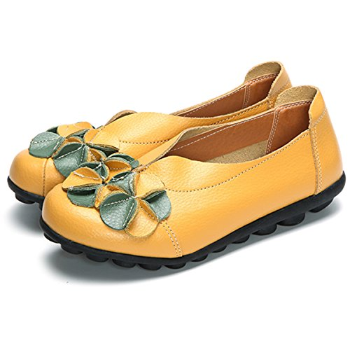 gracosy Women's Loafer Flat Sandals Shoes Leather Moccasins Boat Vintage Flower Summer Slip-On Casual Comfortable Walking Driving Shoes Soft Sole Outdoor Ladies Flat Loafer Pumps Yellow mGHndtY