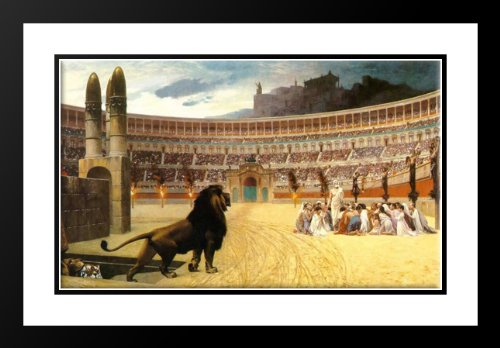The Christian Martyrs' Last Prayer 25x29 Framed and Double Matted Art Print by Gerome, Jean Leon by ArtDirect