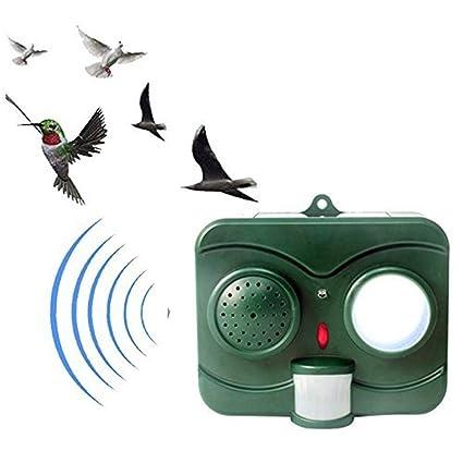 Ahuyentador De Aves Solar Repelente Al Agua Simulado Tiro De Un Susto De Aves con Luces