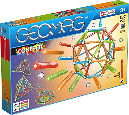 Geomag - CONFETTI - 127-Piece Magnetic Building Set, Certified STEM Construction Toy, Safe for Ages 3 and Up