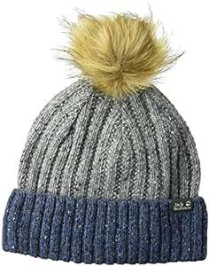 Jack Wolfskin Merino Kid's Knitted Beanie with Faux Fur Pom-Pom Hat, Coastal Blue, Small