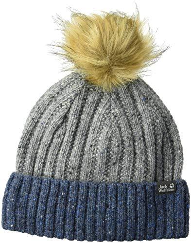Jack Wolfskin Merino Kids Knitted Beanie with Faux Fur Pom-Pom Hat