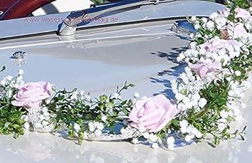 Autoschmuck Autogesteck Hochzeit Brautauto Autogirlande Rosa Weiss