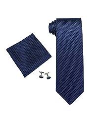 """Landisun Solid Mens Silk Necktie Set: Tie+Hanky+Cufflinks 206 Navy Blue, 3.75""""Wx59""""L"""
