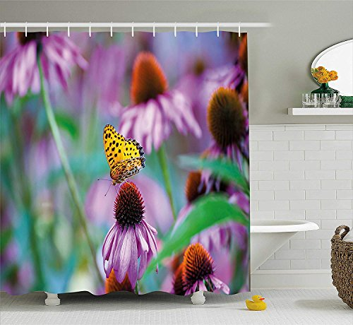 KRISTI MCCARTNEY Garden Shower Curtain, Monarch Butterfly on Coneflowers Wildlife Bugs Plants Rural Scenery Photo, Fabric Bathroom Decor Set with Hooks, 84 Inches Extra Long, Fuchsia Yellow Green