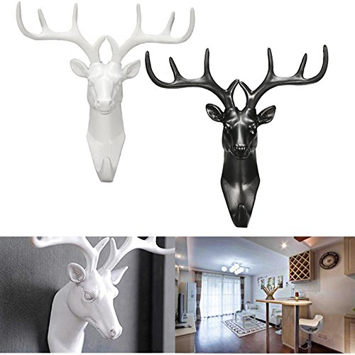 Deer Wall Hook (1 Pair Art Vintage Deer Horn Stags Head Wall Mounted Hanger Rack Holde Hook For Hanging Clothes Hat Scarf Keys Bag Jewelry Organizer Display Rack Home Bedroom Wall Decoration (1Pcs Black& 1Pcs White))