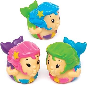 Baker Ross- Sirenitas que lanzan agua (Pack de 4) Juguetes de goma ...
