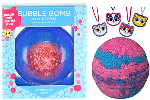 (Girls Kitty Bubble Bath Bomb with Surprise Kids Cat Necklace Inside by Two Sisters Spa. XL Large Lush Fun Spa Fizzy Gift. 99% Natural. Kid Friendly. USA Made. Pink & Blue Color, Cotton Candy Scent.)