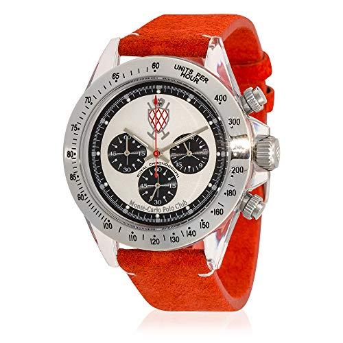 Monte Watch Carlo Leather (Monte-Carlo Polo Club Mens Classic Chronograph Watch with Silver Dial and Red Suede Leather Strap)