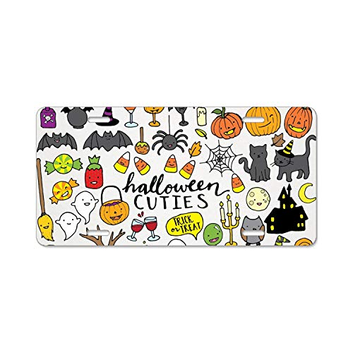 Faneilme Home and Bar Wall Decor Car Vehicle License Plate Souvenir Cute Halloween Clipart