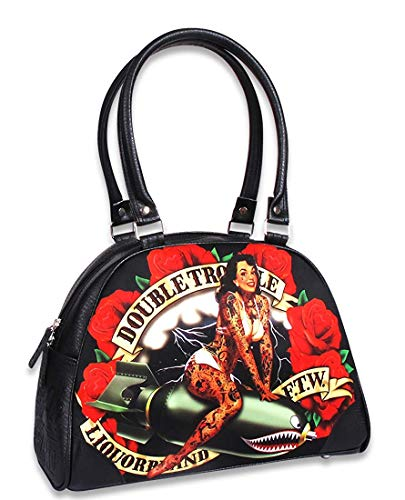 Liquorbrand-Double-Trouble-Rockabilly-Tattooed-Pin-Up-Bomber-Girl-Vegan-Classic-Bowler-Purse