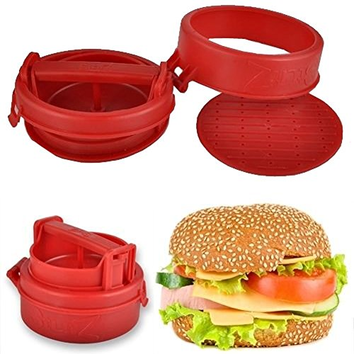 Stuffed Hamburger Burger Press Mould Plastic Novelty Compact Kitchen Tool Red - 2