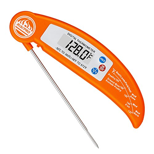 RISEPRO Instant Thermometer, Digital Instant Read Cooking Thermometer Foldable with BBQ Internal Temperature Chart for Kitchen Meat Beef Poultry EN301