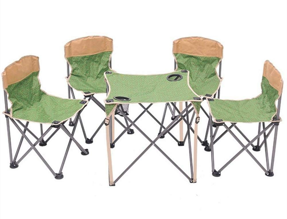 JaHGDU Folding Table Spring and Summer Outdoor Portable Folding Chairs Canvas Tables and Chairs 5 Sets of Fishing Chairs