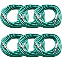 SEISMIC AUDIO - SATRX-25Green6 - Pack of Six (6) 25 Foot Green 1/4 TRS Patch Cable - Balanced Cord - Effects