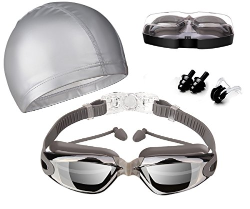 Swim Goggles, Hurdilen Swimming Goggles Anti-Fog UV Protection Coated Lens No Leaking...